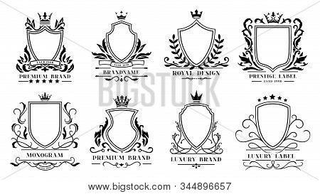 Royal Shields Badges. Vintage Ornamental Frames, Decorative Royal Swirl Heraldic Borders And Luxury