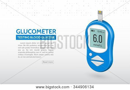 Realistic Glucose Meter Vector Illustration. Diabetes Blood Glucose Test. Modern Electronic Device G