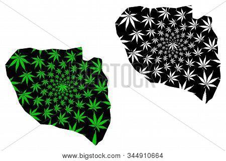 Niamey Region (regions Of Niger, Republic Of The Niger) Map Is Designed Cannabis Leaf Green And Blac