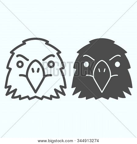 Eagle Line And Glyph Icon. Falcons Head Vector Illustration Isolated On White. Hawk Bird Outline Sty