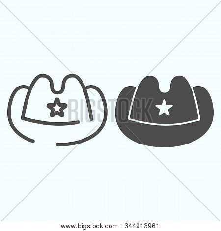 Cowboy Hat Line And Glyph Icon. Western Fashion Vector Illustration Isolated On White. Rodeo Hat Out