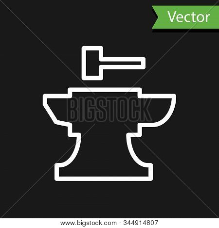 White Line Anvil For Blacksmithing And Hammer Icon Isolated On Black Background. Metal Forging. Forg