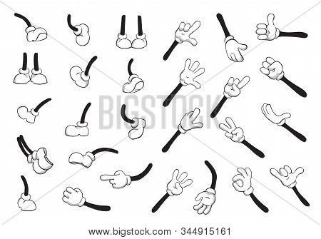 Cartoon Hands And Legs Big Set. Cute Leg In Boots And Gloved Hand Collection