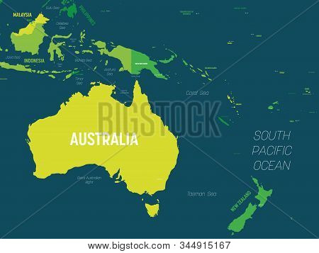 Australia And Oceania Map - Green Hue Colored On Dark Background. High Detailed Political Map Of Aus