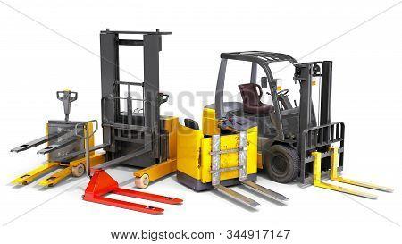 Different Forklift Loaders 3d Render On White