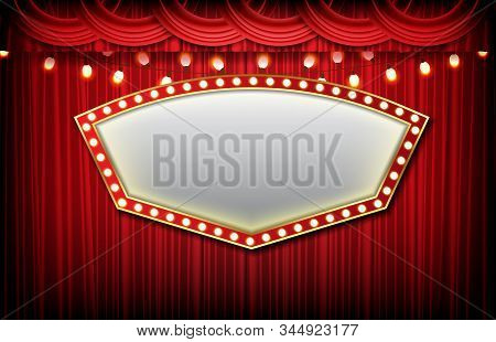Abstract Background Of Sign With Red Curtain, Casino Gambling Concept