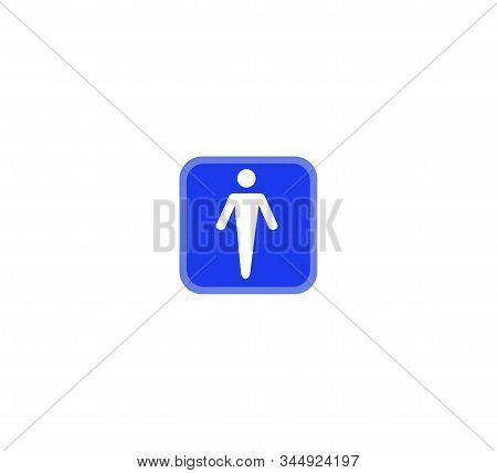 Man  Toilet Sign, Restroom Symbol Illustration, Wc Sign Vector. Blue Flat Vector Icon Male Restroom