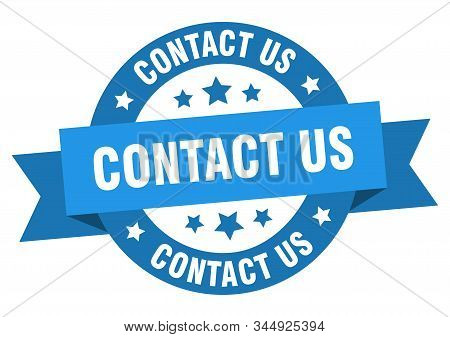 Contact Us Ribbon. Contact Us Round Blue Sign. Contact Us