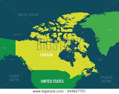 Canada Map - Green Hue Colored On Dark Background. High Detailed Political Map Canada And Neighborin