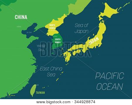 East Asia Map - Green Hue Colored On Dark Background. High Detailed Political Map Of Eastern Region