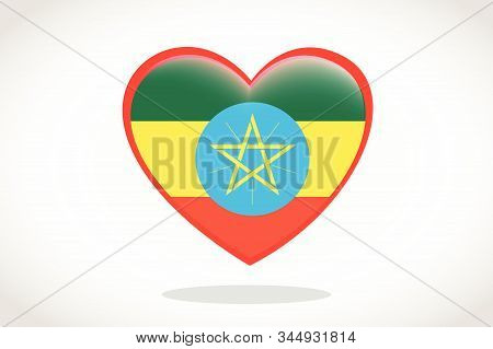 Ethiopia Flag In Heart Shape. Heart 3d Flag Of Ethiopia, Ethiopia Flag Template Design.
