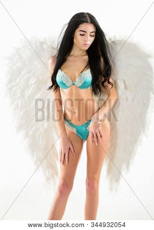 Girl Wear Lingerie And Angel Wings Accessory. Femininity And Sensuality. Erotic Angel. Desirable And