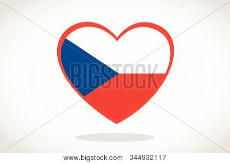 Czech Republic Flag In Heart Shape. Heart 3d Flag Of Czech Republic , Czech Republic  Flag Template