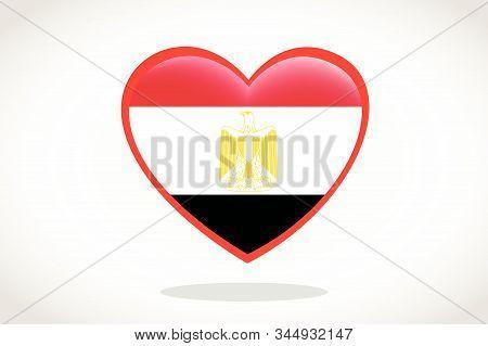 Egypt Flag In Heart Shape. Heart 3d Flag Of Egypt, Egypt Flag Template Design.