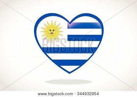 Uruguay Flag In Heart Shape. Heart 3d Flag Of Uruguay, Uruguay Flag Template Design.