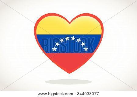 Venezuela Flag In Heart Shape. Heart 3d Flag Of Venezuela, Venezuela Flag Template Design.