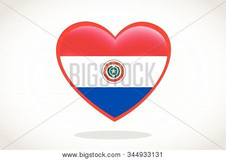 Paraguay Flag In Heart Shape. Heart 3d Flag Of Paraguay, Paraguay Flag Template Design.