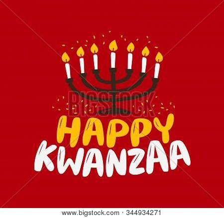 Happy Kwanzaa Greeting Card. Menorah With Lit Candles Vector Illustration