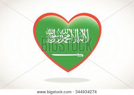 Saudi Arabia Flag In Heart Shape. Heart 3d Flag Of Saudi Arabia, Saudi Arabia Flag Template Design