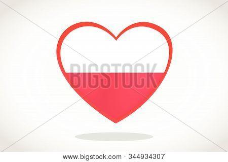 Poland Flag In Heart Shape. Heart 3d Flag Of Poland, Poland Flag Template Design