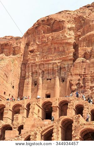 Petra, Jordan - March 28, 2019: Urn Tomb In Ancient City Of Petra. The Urn Tomb Was One Of The Royal