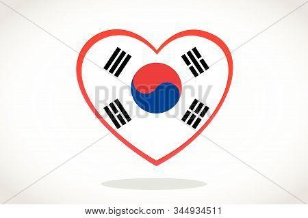 South Korea Flag In Heart Shape. Heart 3d Flag Of South Korea, South Korea Flag Template Design