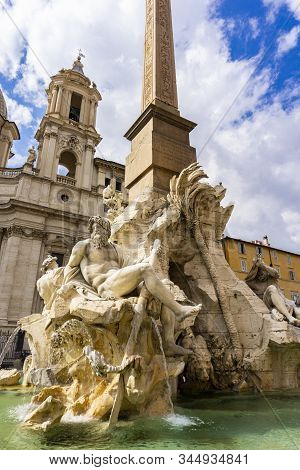 Fontana Dei Quattro Fiumi At Piazza Navona In Rome, Italy, Designed By Bernini At 1651