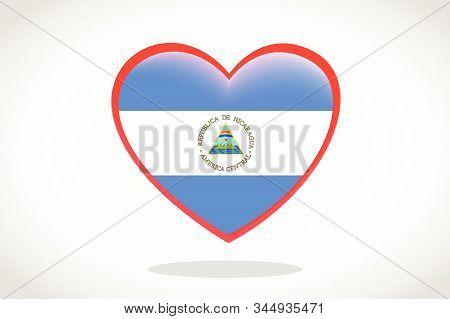Nicaragua Flag In Heart Shape. Heart 3d Flag Of Nicaragua, Nicaragua Flag Template Design