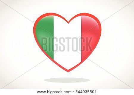 Italy Flag In Heart Shape. Heart 3d Flag Of Italy, Italy Flag Template Design