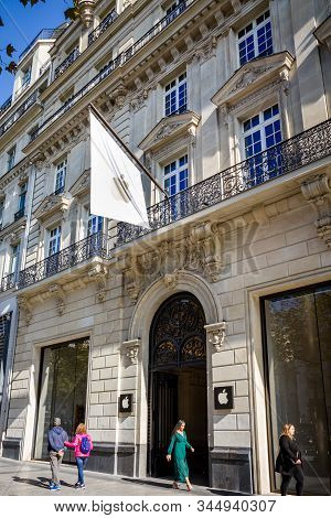 Paris/france - September 10, 2019 : The Apple Electronics Store On Champs-elysees Avenue