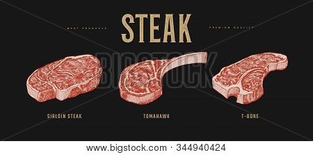 Set Of Slices Steaks Vector Illustration. Sirloin, Tomahawk And T-bone Meat Steaks. Hand-drawn Piece