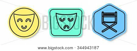 Set Line Comedy Theatrical Mask , Drama Theatrical Mask And Director Movie Chair . Colored Shapes. V