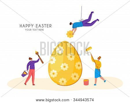 Easter Day - Miniature People Decorate Giant Easter Eggs, Tiny Man And Woman With Macro Spring Holid