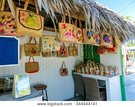 Half Moon Cay, Bahamas - December 02, 2019: People At Shop At Fort San Salvador At Half Moon Cay, Li