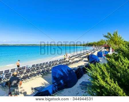 Half Moon Cay, Bahamas - December 02, 2019: People At The Beach On Half Moon Cay Island At Bahamas.