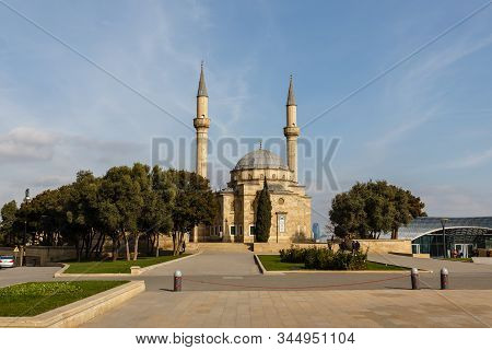 Baku, Azerbaijan - November 13, 2019: The Mosque Of The Martyrs Or Turkish Mosque Is A Mosque In Bak