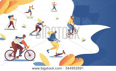 Women Doing Sport At Summer Park Landing Page Template. Bmx Bike, Bicycle, Roller Skaters And Skates