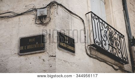 Montpellier, France - January 02, 2019: Street Name Plate In French - Rue De Argenterie And Rue De A