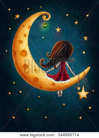 Illustration of a little girl on the moon
