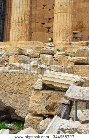Close-up View Of Ancient Ruins Of The Parthenon. It Is A Former Temple On The Athenian Acropolis, Gr