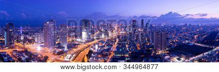 Aerial View Of Tel Aviv Skyline At Dusk,  Tel Aviv Cityscape Panorama At Sunrise, Israel