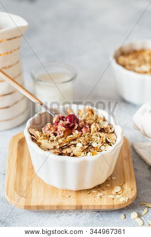 Cherry And Apricot Crumble Pie. Fruit Crumble With Any Kind Of Fruit. Dessert With Fruits, Oatmeal A