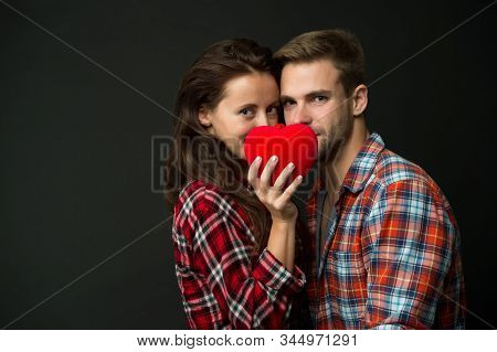Intimacy. Sensual Couple Red Heart. Happy Valentines Day. Love And Romance. Man And Girl Romantic Da