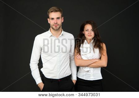 White Style. Business Couple. Business Team. Partnership Concept. Office Fashion And Corporate Attir