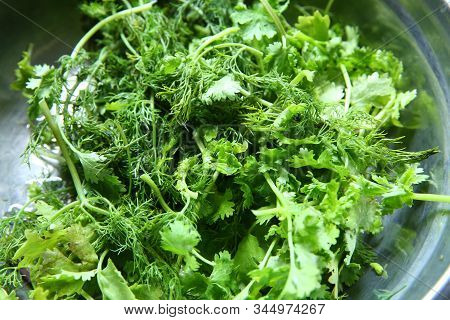 Green Leaves Of The Annual Anethum Graveolens, Used As Herb And Spice. Macro Food Photo Close Up . F