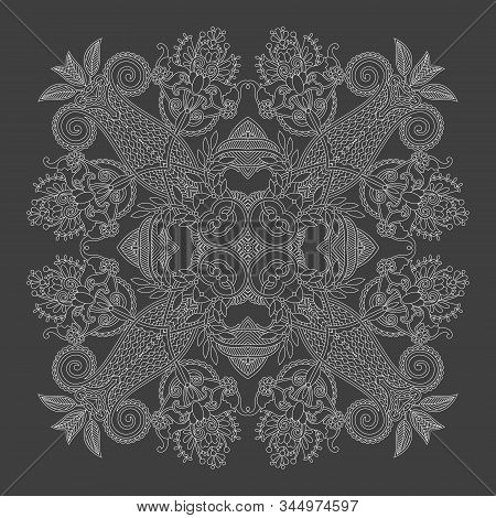 Indian Paisley Bandanna Design Print, You Can Use This Pattern In The Design Of Carpet