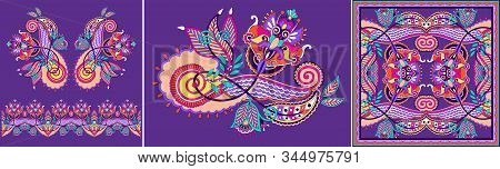 Set Of Floral Pattern In Indian Kalamkari Oriental Ethnic Style, Paisley Design Bandanna