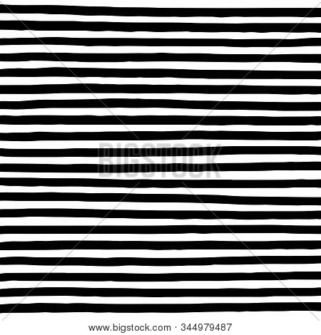 Hand Drawn Horizontal Parallel Black Thick Lines On White Background. Straight Lines Marker Sketch F