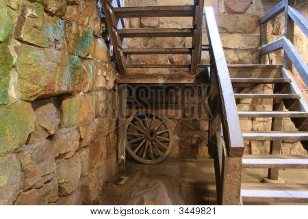 Wagon Wheel  In Old Stone Basement