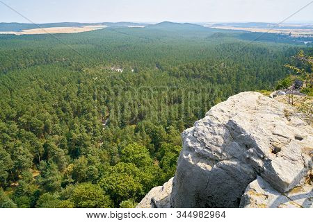 View From The Regenstein Near Blankenburg To The Harz Foreland In Germany